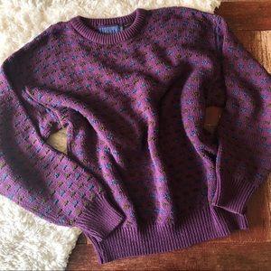Vintage   Purple Oversized Chunky Grandpa Sweater